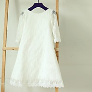Sheath / Column Tea-length Flower Girl Dress - Lace Long Sleeve Bateau with Lace
