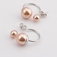 Women's Fashion More Colors Set of Two Silver Stainless Steel Double Imitation Pearls Earring