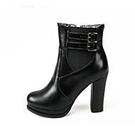 Kunstlæder-Modestøvler-Dame-Sort Brun Marine-Formelt Fritid-Tyk hæl