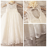 Princess Ivory Hole Back Floor-length Flower Girl Dress - Lace Sleeveless