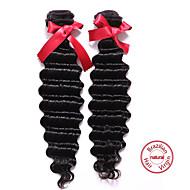evet 7a grade brasilianska jungfru hår vinkar djupt 2 buntar brasilianska vinkar djupt obearbetat människohår vävning 100g / st