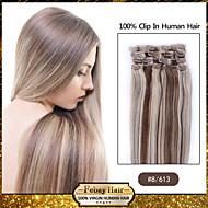 תוספות שיער חום בהירות # / בלונדינית 8/613 - הרחבות 100% רמי שיער - קליפ רמי בתוספות שיער