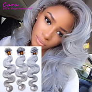 "3pcs/lot Body Wave Peruvian Human Hair 100g/pc,14""-20""Grey Hair Extensions Human Hair Weaves"