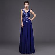 Dress - Royal Blue Sheath/Column V-neck Floor-length Chiffon