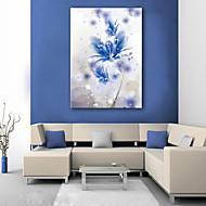 e-Home® sträckt ledde kanfastryck konst en blå blommor ledde blinkande optisk fiber print