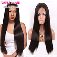 8-24inch Brazilian Virgin Hair Natural Black Color Silkly Straight Full Lace Wig With Baby Hair for Black Women