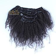 peruanisches Haar afro verworrener lockiger Klipps in den Menschenhaarverlängerungen 7pcs / set voller Kopf natürliche schwarze Farbe gesetzt