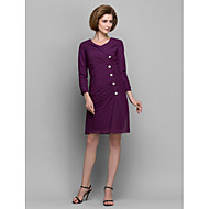 Sheath/Column Mother of the Bride Dress - Grape Short/Mini 3/4 Length Sleeve Chiffon