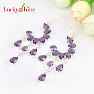 Luckyshine Newest Full Drop Fire Amethyst Gem Prong Setting 925 Silver Drop Earrings For Wedding Party Daily 1pair