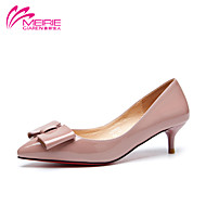 MeiRie'S Women's Shoes Patent Leather Kitten Heel Pointed Toe/Closed Toe Flats Casual Black/Pink/Red/Gray