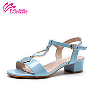 MeiRie'S Women's Shoes Patent Leather Chunky Heel Heels/Open Toe Sandals Casual Black/Blue/White
