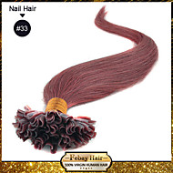 Klasse 5a 1pc / lot 20inch / 45cm dunkelkastanien (# 33) gerade Fusion / u spitzen Haarverlängerung Menschenhaar spinnt 0,5 g / s