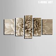e-Home® sträckta kanvas konstblommor dekorationsmåleri uppsättning av 5