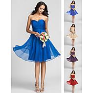 Homecoming Bridesmaid Dress Knee Length Chiffon A Line Sweetheart Dress (722115)