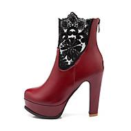 Kunstlæder-Modestøvler-Dame-Sort Rød Hvid-Formelt Fritid-Tyk hæl