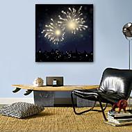 E-HOME® Stretched LED Canvas Print Art Fireworks LED Flashing Optical Fiber Print