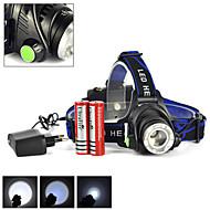 רצועות פנס LED 3 / 4 מצב 2500 Lumens ניתן לטעינה מחדש / הגנה עצמית / Zoomable Cree XM-L T6מחנאות/צעידות/טיולי מערות / ציד / רב שימושי /