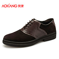 Aokang Men's Shoes Outdoor/Athletic/Casual Suede Fashion Sneakers Black/Brown