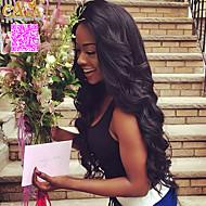 """8 """"-26"""" peruansk jomfru hår kropp bølge limfrie blonder parykk blonder foran parykk farge naturlig svart babyen håret for svarte kvinner"""