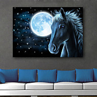 E-HOME® Stretched LED Canvas Print Art  The Moon And The Horse LED Flashing Optical Fiber Print