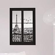 3d klistermærker vindue landskab eiffeltårnet pvc wall stickers Vægoverføringsbilleder