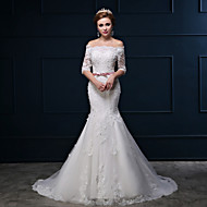 Trumpet/Mermaid Wedding Dress - White Court Train Off-the-shoulder Lace/Tulle/Charmeuse