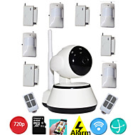 PTZ Wifi Mini Ip Cam Camera HD 720P P2P Onvif With Wireless Pir Door Sensor Alarm System For Home Security