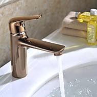 contemporaine augmenté en laiton d'or chaude et froide poignée unique salle de bains bassin évier robinet mélangeur