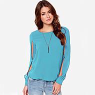 여성의 할로우 아웃 라운드 넥 긴 소매 셔츠 쉬폰