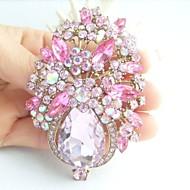 Gorgeous 3.15 Inch Gold-tone Pink Rhinestone Crystal Flower Brooch Pendant