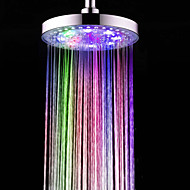 8 Inch A Grade ABS Chrome Finish Round  7 Colors LED Rain Shower Head - Silver