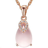 Women's Silver Pink  Crystal Lucky Pendant Necklace