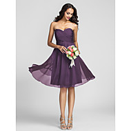Lanting Knee-length Chiffon Bridesmaid Dress - Ruby / Grape / Royal Blue / Champagne Plus Sizes / Petite A-line Sweetheart