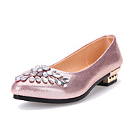 Women's Shoes Fabric Low Heel Comfort/Round Toe/Open Toe Flats Outdoor/Office & Career/Casual Pink/Red/Silver/Gold