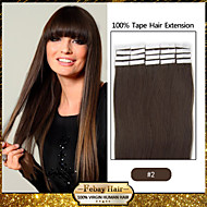 20pcs 1.5-2g/pc 16-24inch Brazilian Virgin Tape Human Hair Extension #2 Tape In Human Hair Extensions 002
