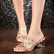 נעלי נשים - סנדלים - סינטתי - מעוגל / פתוח - כחול / זהב - חתונה / שמלה / קז'ואל / מסיבה וערב - עקב עבה