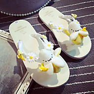 Women's Summer Flip Flops Fur Outdoor / Casual Low Heel Others / Flower Beige