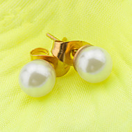 Women's Fashion Gold Plated Stainless Steel  Double Imitation Pearls Earrings