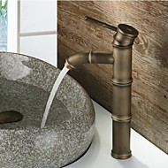 Antique Centerset Waterfall with  Ceramic Valve Single Handle One Hole for  Antique Brass , Bathroom Sink Faucet