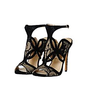 Women's Shoes Leatherette Stiletto Heel Open Toe Sandals Office & Career/Party & Evening/Dress Black
