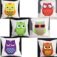 Set of 6 Little Owl Pillowcase Sofa Home Decor Cushion Cover(17*17inch)