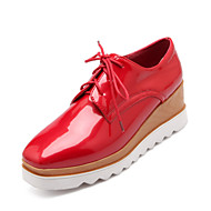 Women's Shoes Patent Leather Platform Creepers/Round Toe Oxfords Casual Black/Red/White