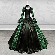 vestido largo de satén estampado verde y negro dama steampunk®gothic