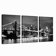 VISUAL STAR®Black and White London Bridge Stretched Canvas Print Famous Modern Wall Art Ready to Hang