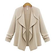 Långärmad Enfärgad Höst Plusstorlek Kappa Dam-Asymmetrisk Polyester Tunn Blå Rosa Gul