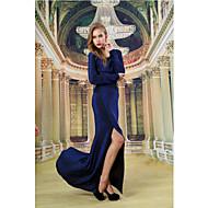 Formal Evening Dress - Dark Navy Sheath/Column Scoop Floor-length Knit