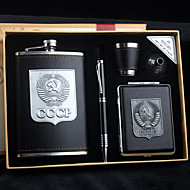 Gift Groomsman 5 Pieces Black Leather Stainless Steel 9-oz Flask + Cigarette Case in Gift Box