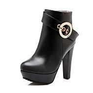 נעלי נשים - מגפיים - דמוי עור - מעוגל / סגור - שחור / לבן - משרד ועבודה / שמלה / קז'ואל - עקב עבה