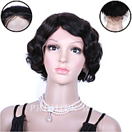 Premierwigs 8''Indian Remy Short Wavy Full Lace Human Hair Wigs Silk Base Lace Front Wigs For Black Women
