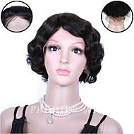premierwigs 8''indian Remy krátké vlnité plné krajka lidský vlas paruky hedvábí základna krajky přední paruky pro černé ženy